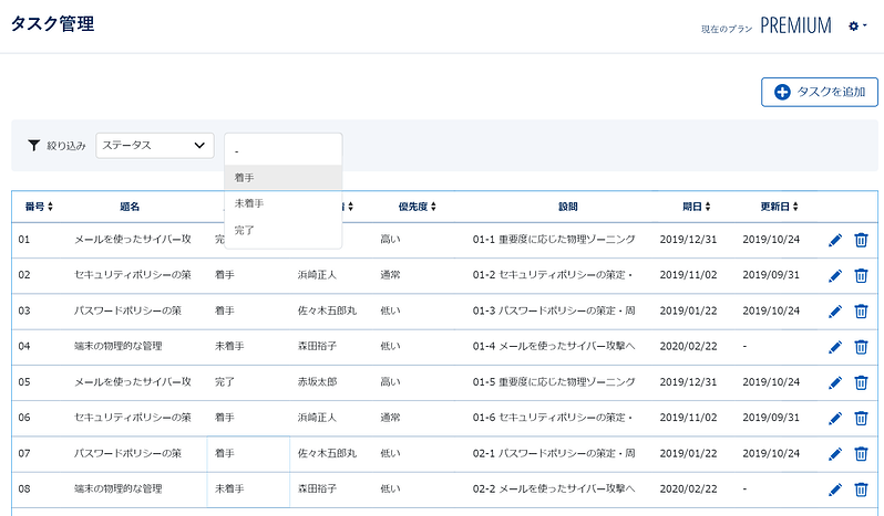 「タスク管理機能」の画面イメージ