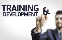Business man pointing to transparent board with text Training & Development