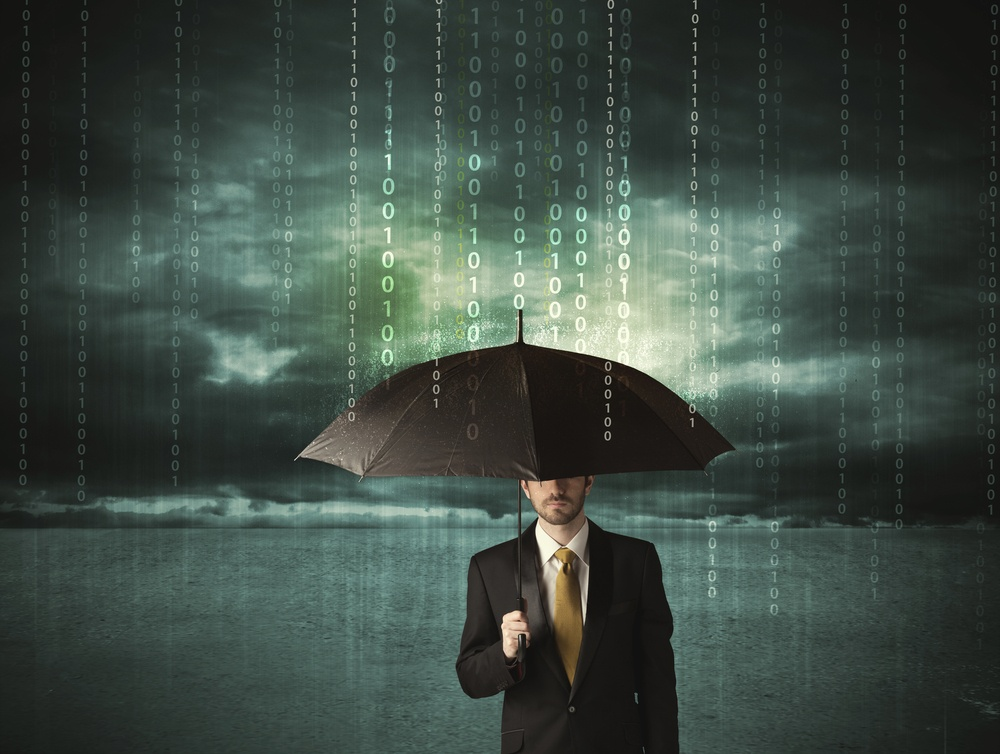 Business man standing with umbrella data protection concept on background-1