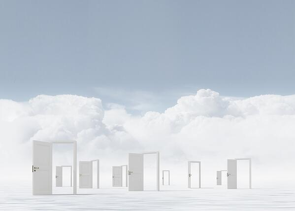 Conceptual image with opened doors as new way entrance to new world