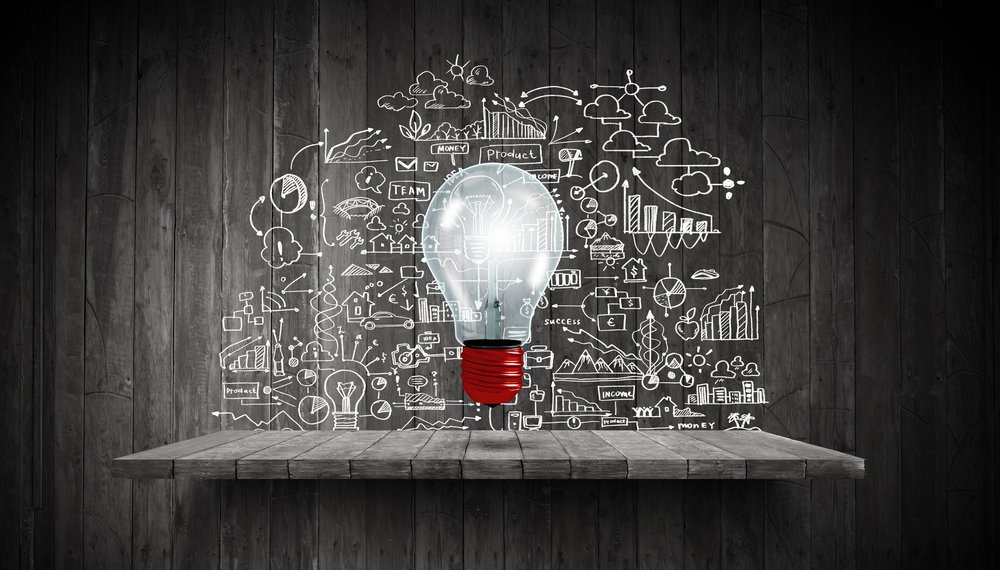 Light bulb and drawing business strategy at background-1