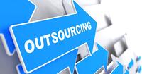Outsourcing - Business Background. Blue Arrow with