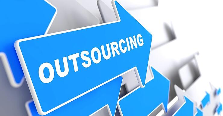"""Outsourcing - Business Background. Blue Arrow with """"Outsourcing"""" Slogan on a Grey Background. 3D Render."""
