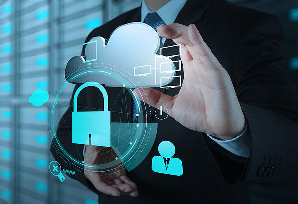 businessman hand show 3d cloud icon with padlock as Internet security online business concept-3
