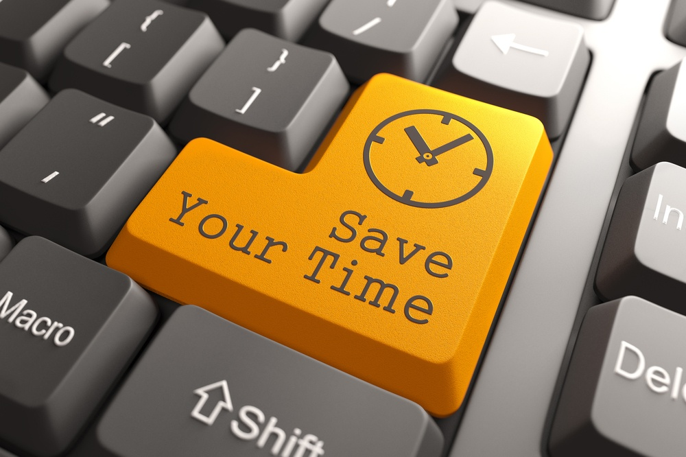 Orange Save Your Time Button on Computer Keyboard. Business Concept.