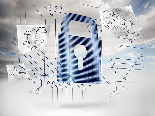 Big padlock with circuit board and drawings floating around with sky on the background